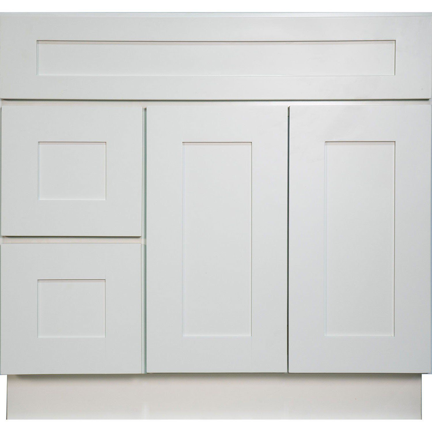 white shaker bathroom vanity. 36 Inch Bathroom Vanity Single Sink Cabinet In White Shaker With Soft Close Doors And Drawers (Left) - Everyday Cabinets E