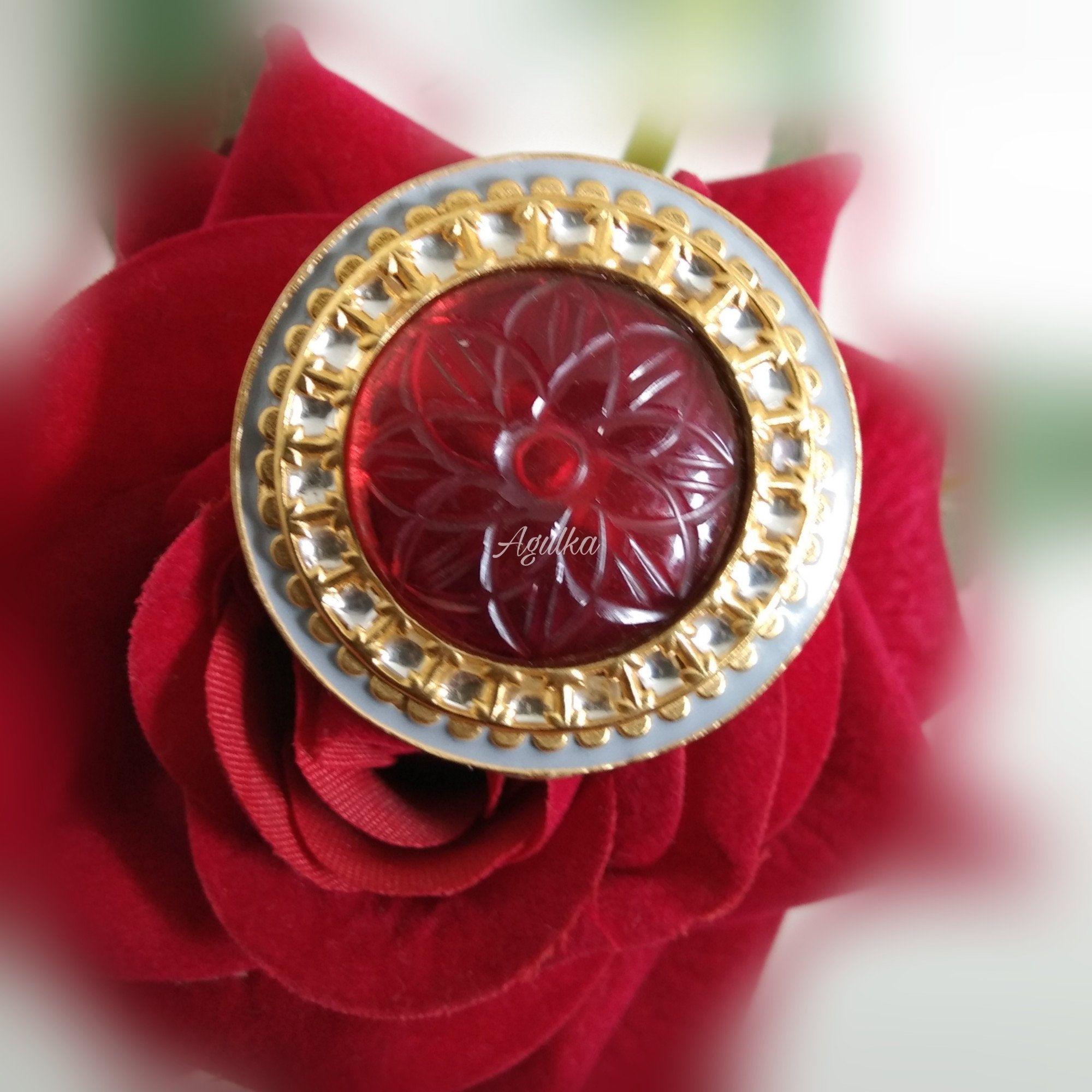 Big Red Kundan Ring statement Kundan Rings Adjustable Kundan Rings