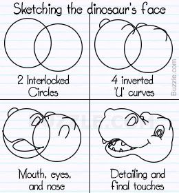 Step-by-step instructions to draw a cartoon dinosaur