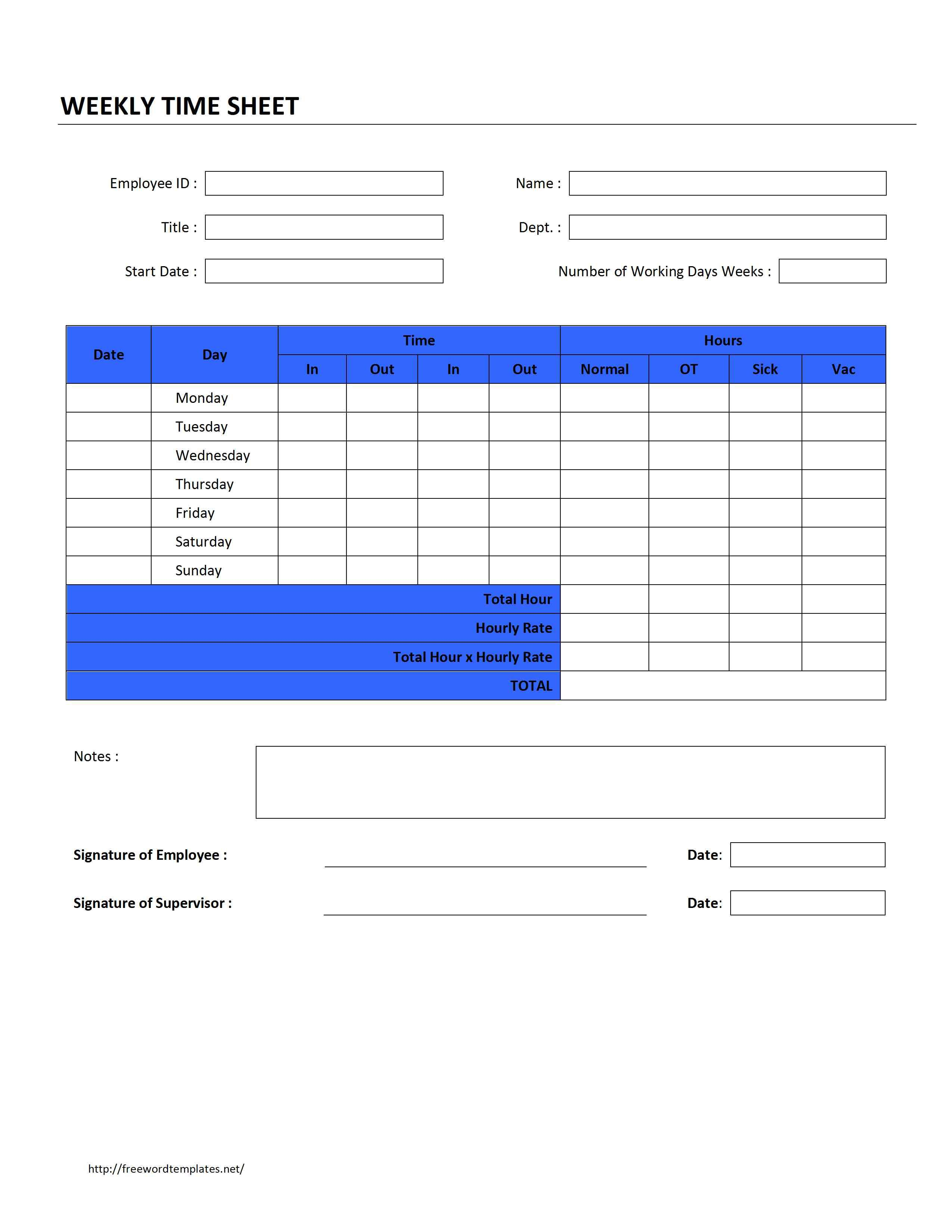 Employee Timesheet Template For Word