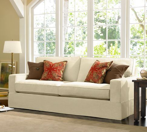 Slip Cover For Square Arm Couch   PB Comfort Square Arm Grand Furniture  Slipcovers   Pottery Barn