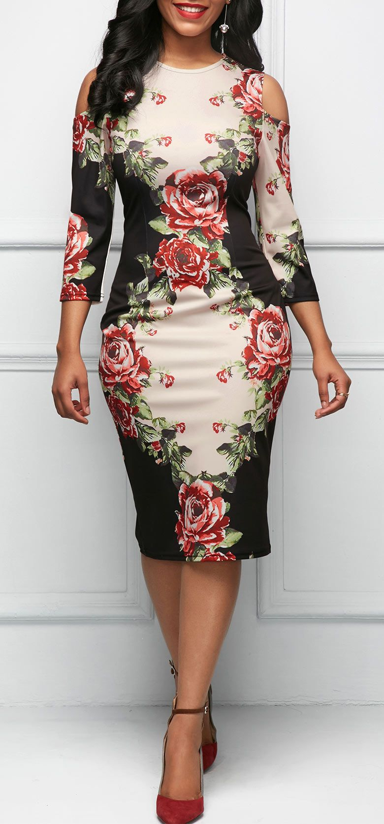a5f623a647d76 Three Quarter Sleeve Cold Shoulder Flower Print Dress | Fashion ...