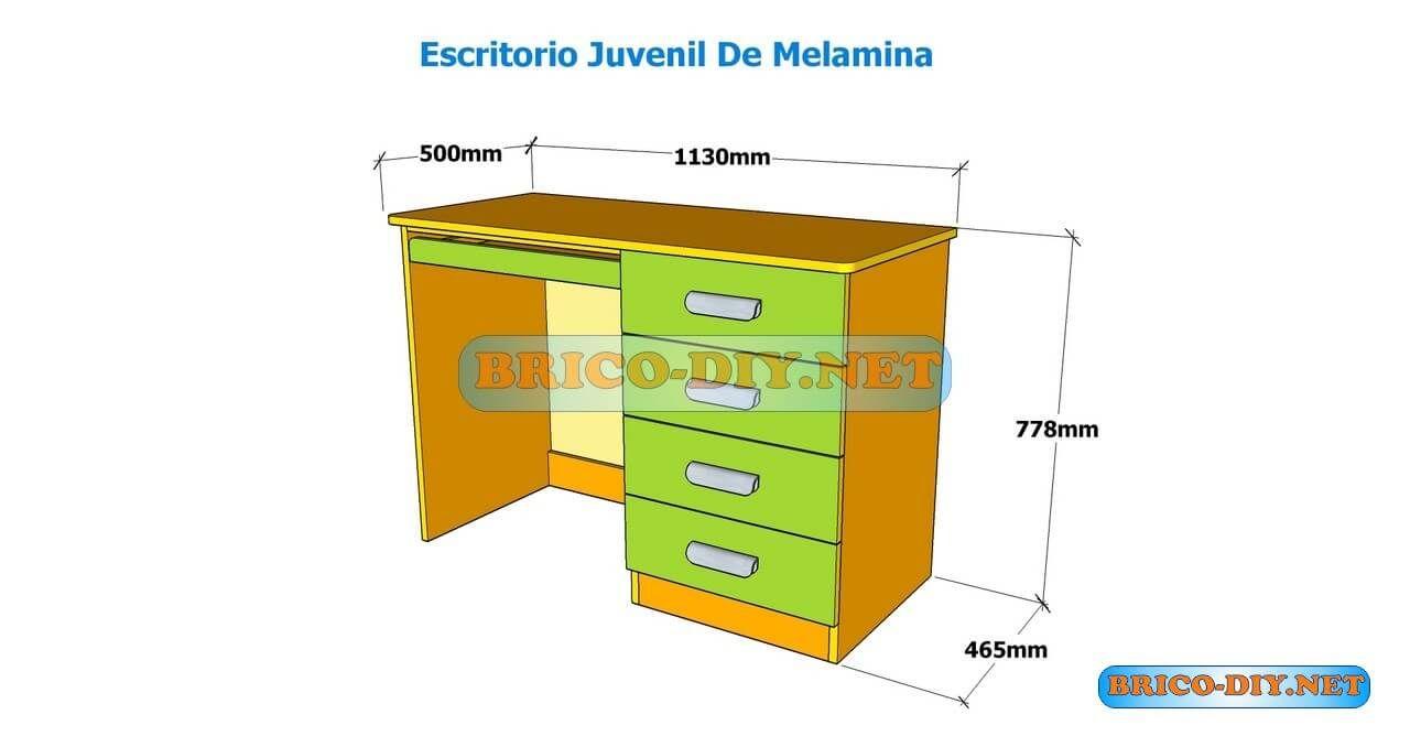 Como hacer un escritorio juvenil planos con medidas para for Dimensiones mesa escritorio