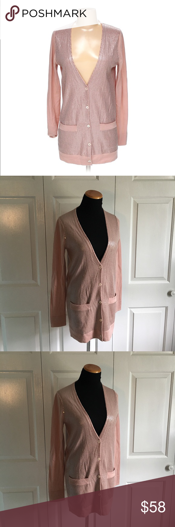 J.Crew Rose Gold Sequin Cardigan J.Crew collection long pink ...