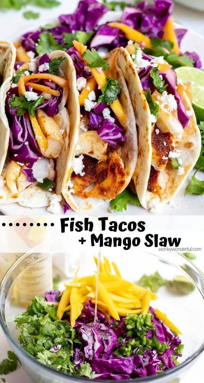 EASY BAKED FISH TACOS + MANGO SLAW :) WonkyWonderful