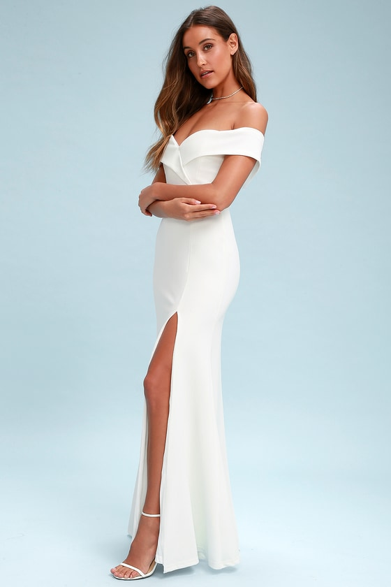 1d6d516a82e60 Lulus   Song of Love White Off-the-Shoulder Maxi Dress   Size Medium ...