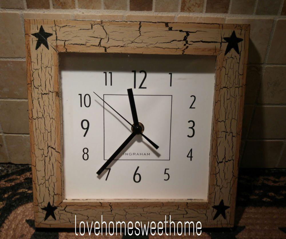 Primitive Crackle Tan Black Star Wood Wall Clock Country Decor Naiveprimitive Country Wall Clock Wood Wall Clock Wall Clock