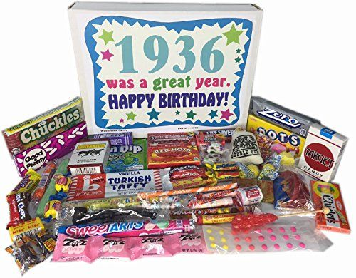 81st Birthday Gift Basket Box Of Nostalgic Retro Candy From Childhood For An 81 Year Old Man Or Woman Born In 1936