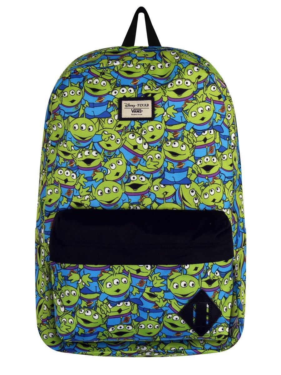 506f46aa17 Toy Story aliens Vans rucksack. Why the black flappy bit though