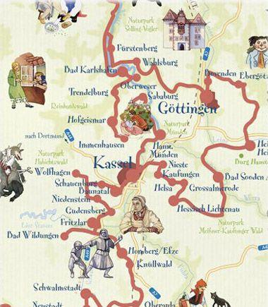 Die Marchenstrasse The Fairy Tale Road Stadtplan Kassel Ich Liebe Deutschland