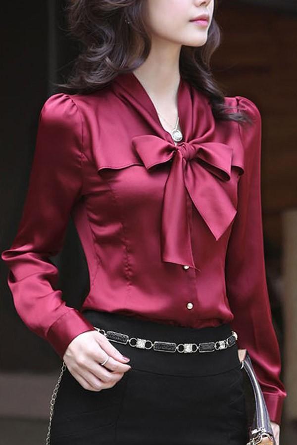 f5a3e243a89ca Dark Red Bow Decor Imitated Silk Shirt   Womens Shirts   Blouses