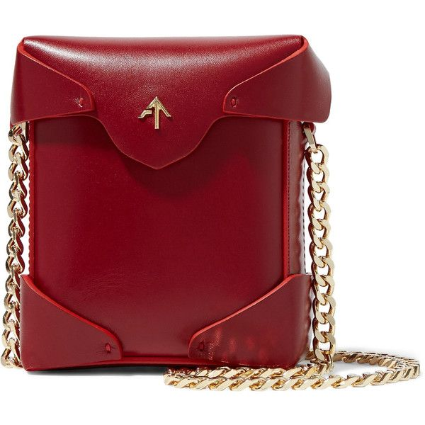 Manu Atelier Pristine micro leather shoulder bag ($315) ❤ liked on Polyvore featuring bags, handbags, shoulder bags, claret, leather shoulder handbags, leather flap handbags, red shoulder bag, structured handbags and genuine leather purse