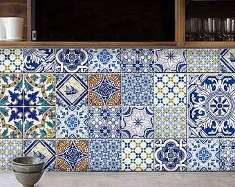 Tile Wall Decal Grey Mix 4 Designs X 11 Sets 44pcs