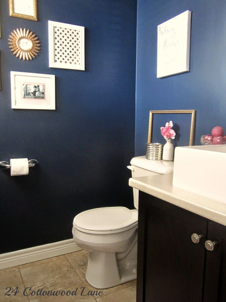 Purple and brown bathroom ideas - A Powder Room Goes From Boring Brown To Glamorous Navy Pink And Gold
