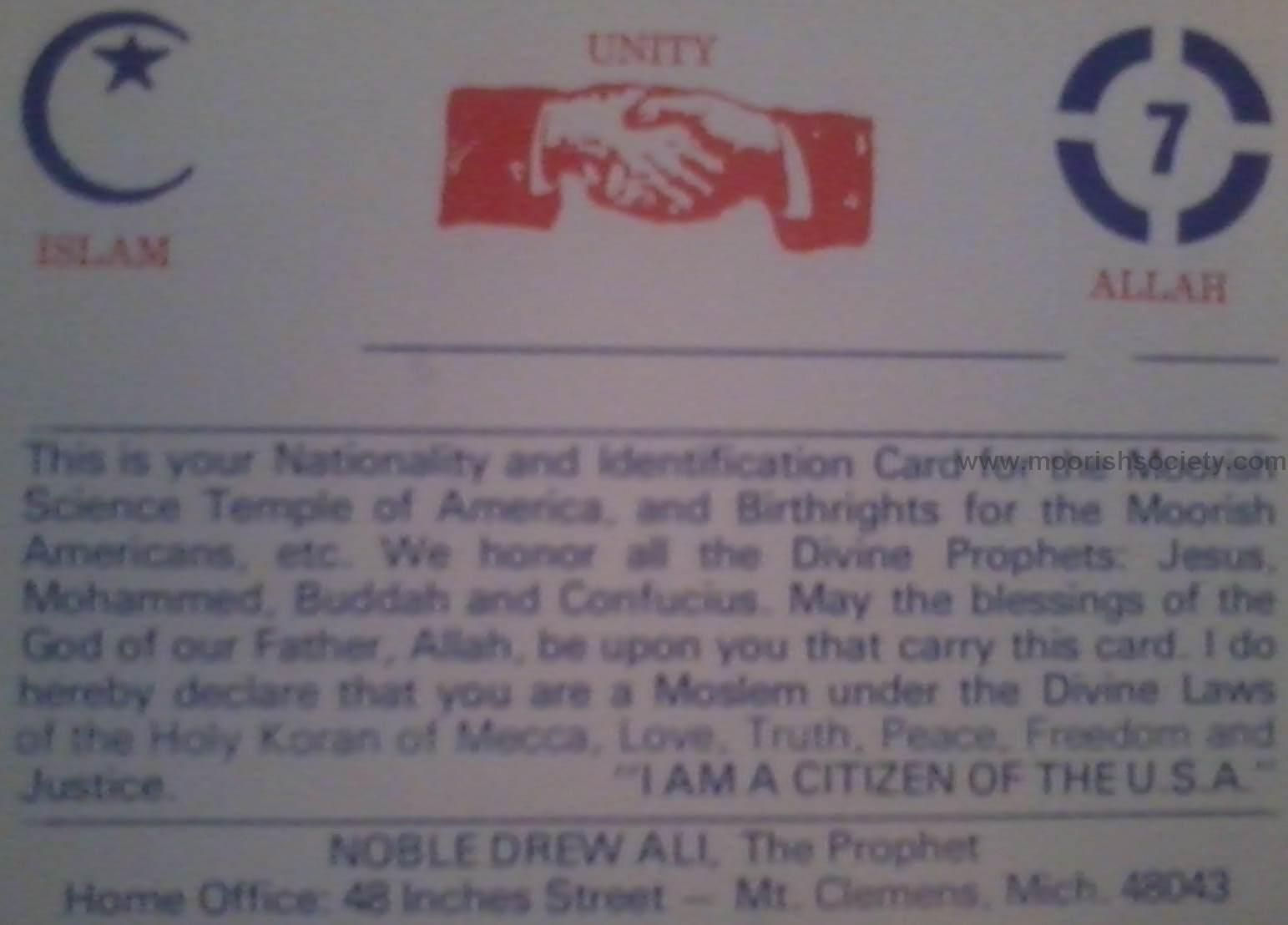 This is the Nationality Card for members of the Moorish