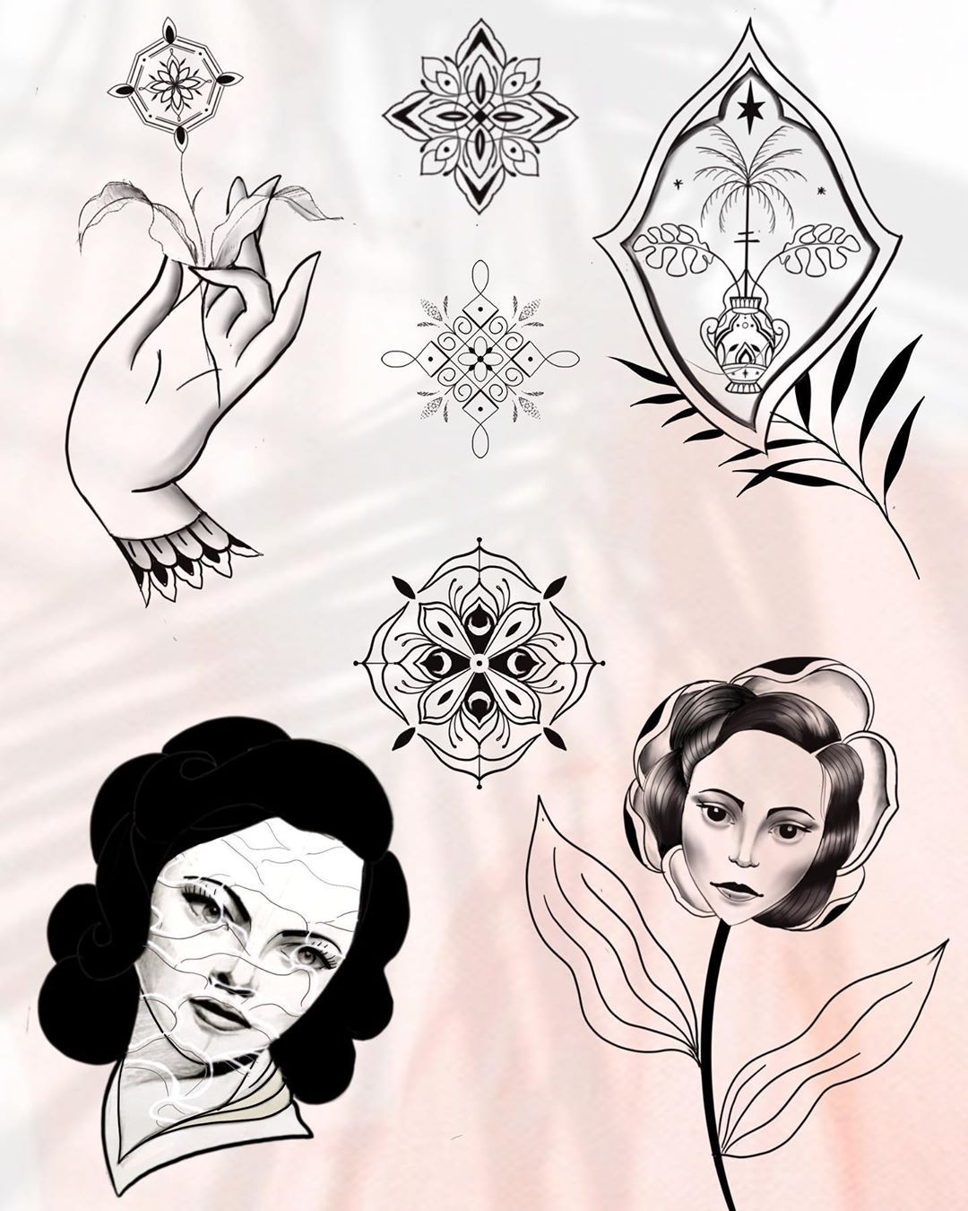 Pièces à adopter / available now #tattoo #design #oldschooltattoo #orientaltattoo #orientaldance #line #flashtattoo #tattooflash #art tattooer #ink #newage #newtattoo blackwork #vegetaltattoo #illustration #dailyart #ornamentaltattoo #surrealism