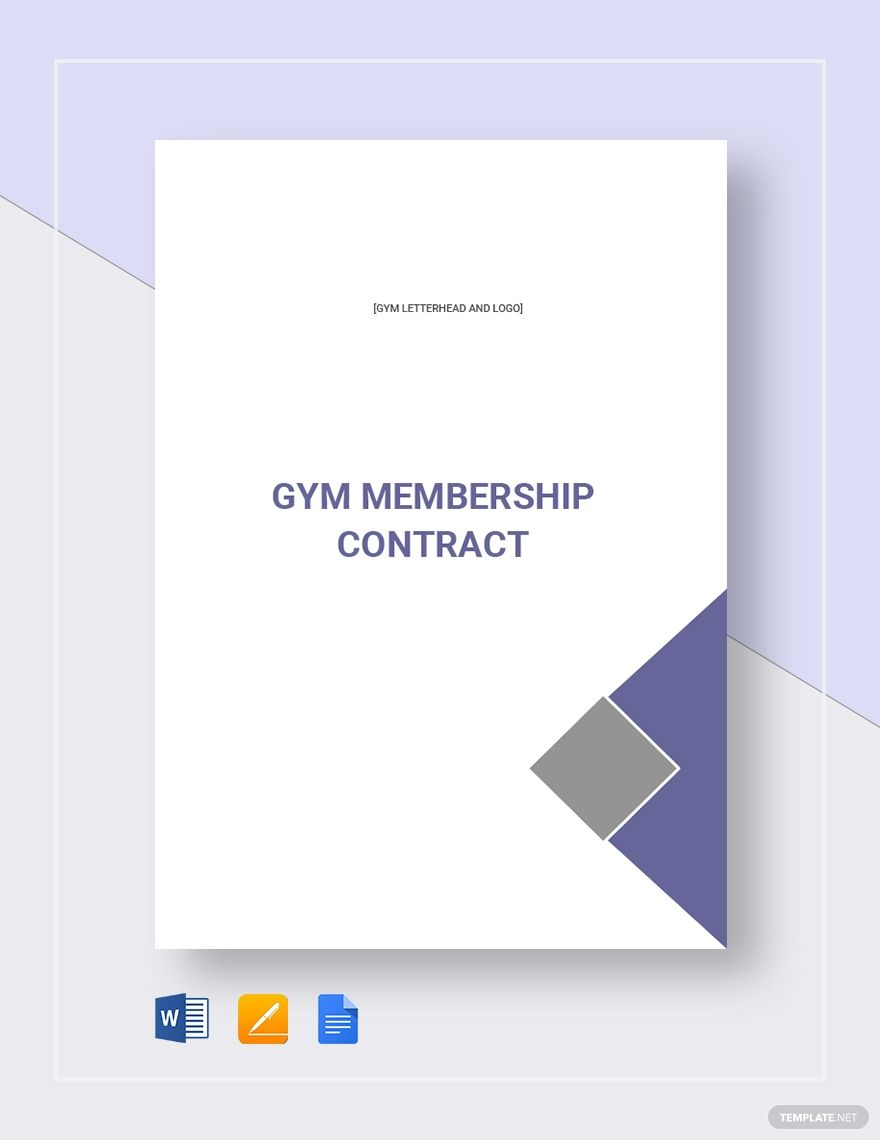 Gym Membership Contract Template Free Pdf Google Docs Word Apple Pages Template Net Contract Template Business Folder Design Membership Design