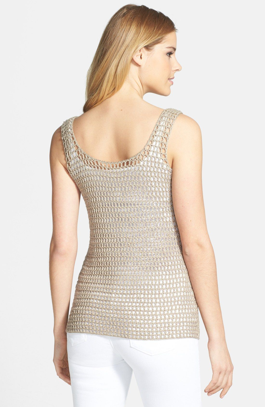 Free shipping and returns on Halogen® Crochet Sweater Tank (Regular & Petite) at Nordstrom.com. Crochet stitching adds airy, open dimension to a pretty layering tank styled with front and back scooped necklines and crafted in a slim silhouette.
