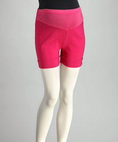 Take a look at this Fuchsia Mid-Belly Roll-Up Maternity Shorts by QT Maternity on #zulily today!