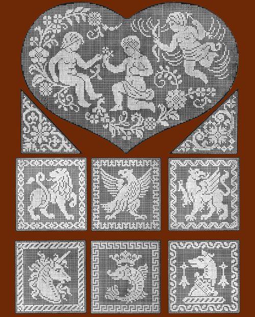 "Iva Rose Vintage Reproductions - Le Filet Ancien #1 c.1914 - Vintage Lace Designs of France (Large Format 11"" x 17"" size)"