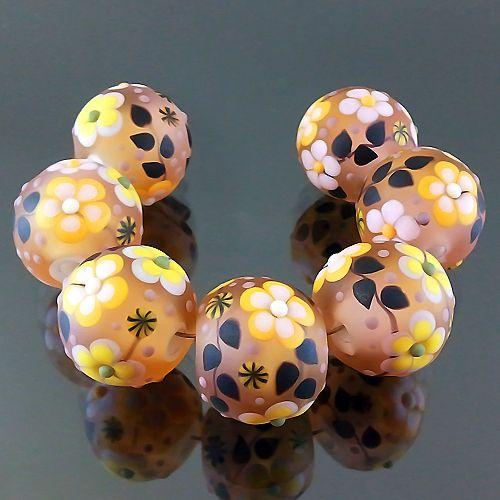 PIKALDA=handmade lampwork 7 glass beads colorful flower blossom garden=DAWN=SRA