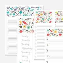 Free Folk Floral Printable Calendar And Lists Monthly List