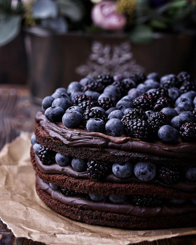 Торт с ежевикой фото