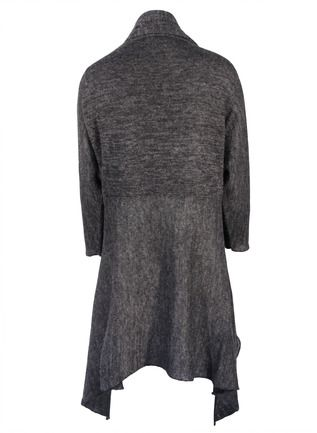 Soft and sculptural with angular drapes to enfold the body, our flowy charcoal cardigan is sophisticated, versatile, and perfect for travel in a cloudweight blend of baby alpaca (65%), nylon (17%), silk (15%) and wool (3%). Detailed with long dolman sleeves that roll up to suit the season.