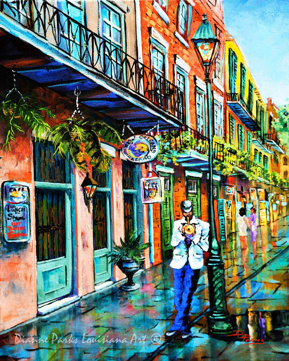 Jazz street music new orleans french quarter art print for Tattoo shops french quarter new orleans