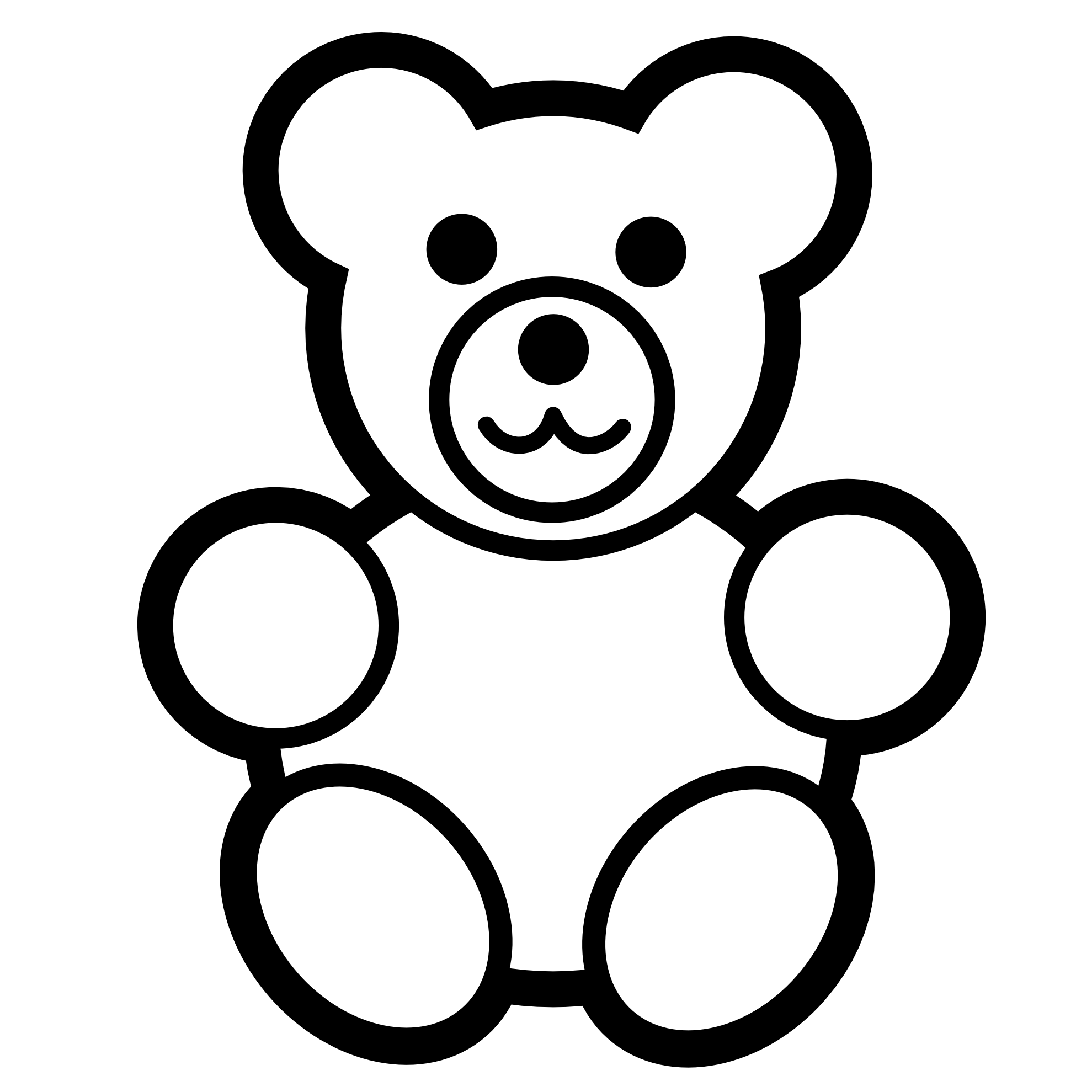 clipartist.net Clip Art pitr teddy bear icon black white ...