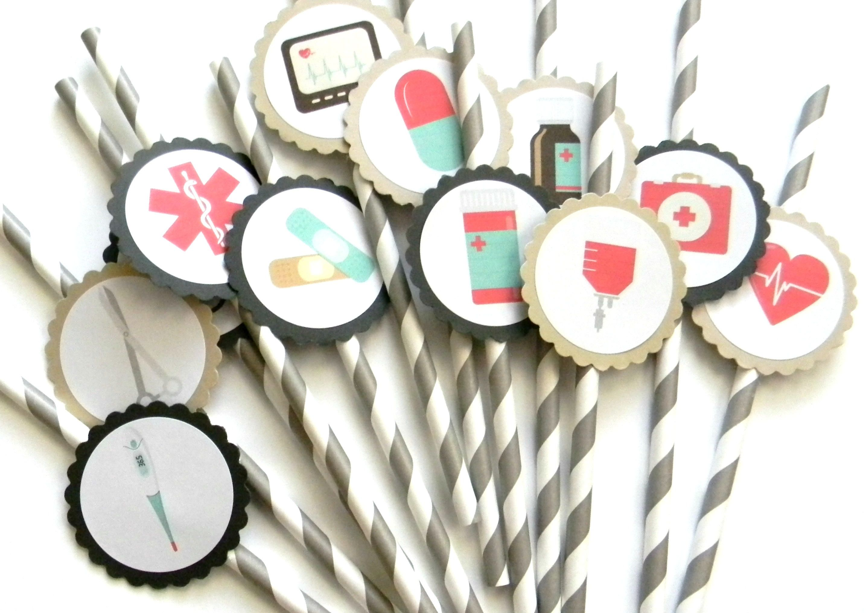 12 Vintage Medical Party Straws, Doctor Theme, Birthday Toppers ...