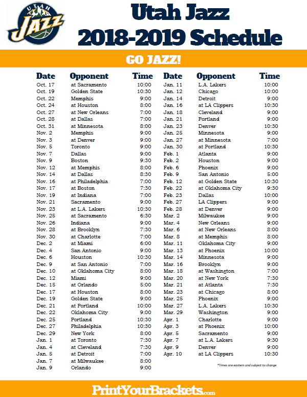 photograph relating to Lakers Printable Schedule identify Printable 2018-2019 Utah Jazz Timetable Printable NBA