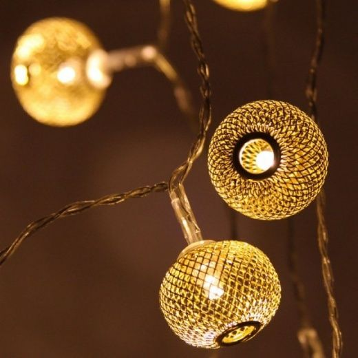 Gold Lanterns LED Chain Fairy String Lights Battery Operated