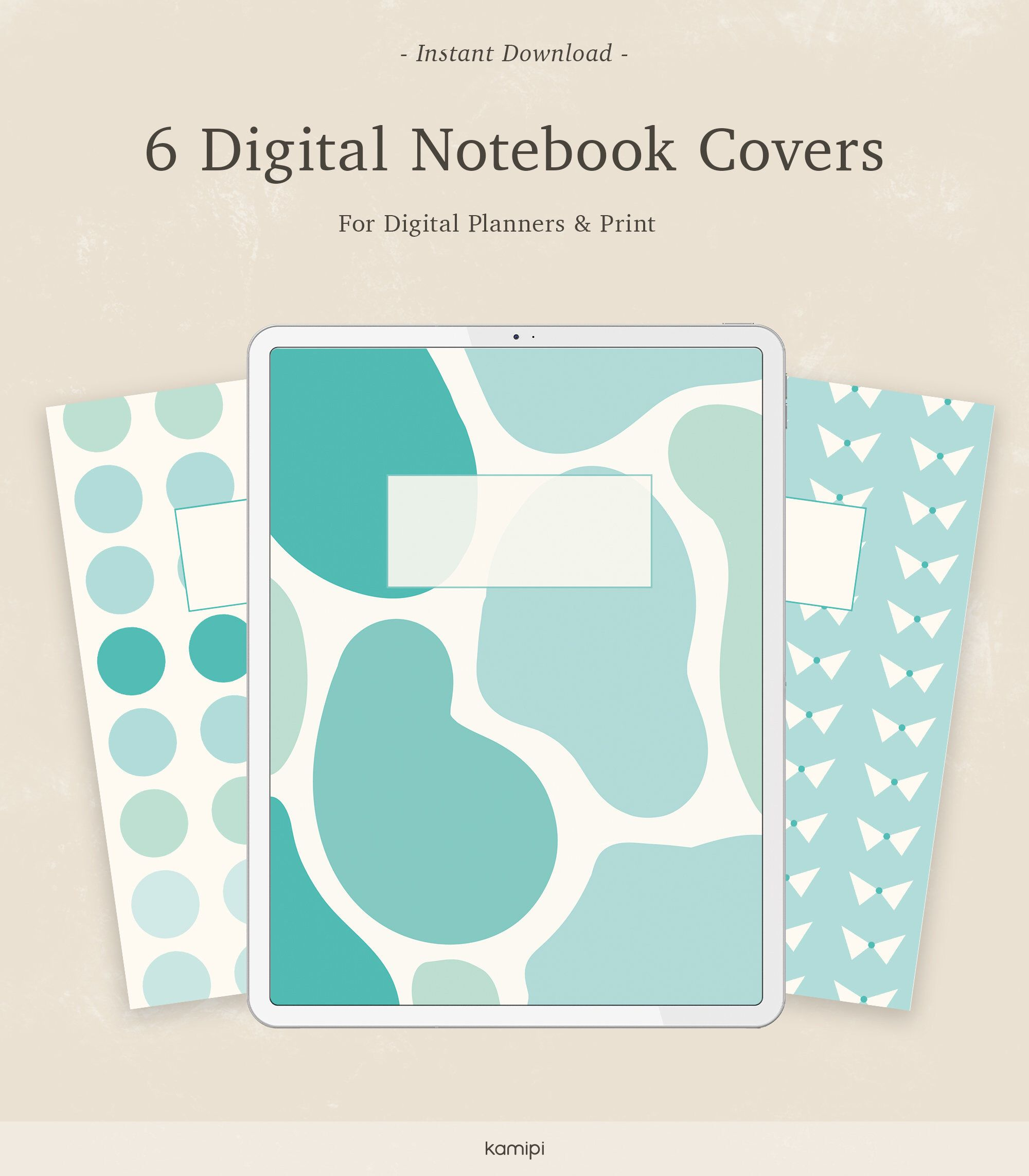 6 Digital Pattern Subject Notebook Cover | Pastel turquoise binder covers Printable and GoodNotes Template | Tablet or Printable -   18 subjects Notebook covers ideas