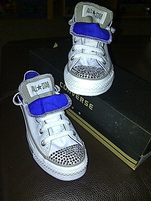 e91f9ec3f07a Plain bedazzled converse shoes by ME!