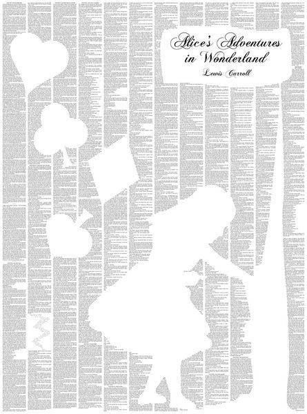 Alice in Wonderland Print. This would be cool with just a black ...
