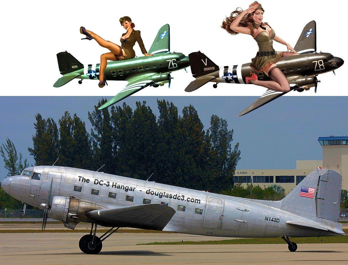 pin up girls and a DC3 | Take Flight | Pinterest | Aviation art