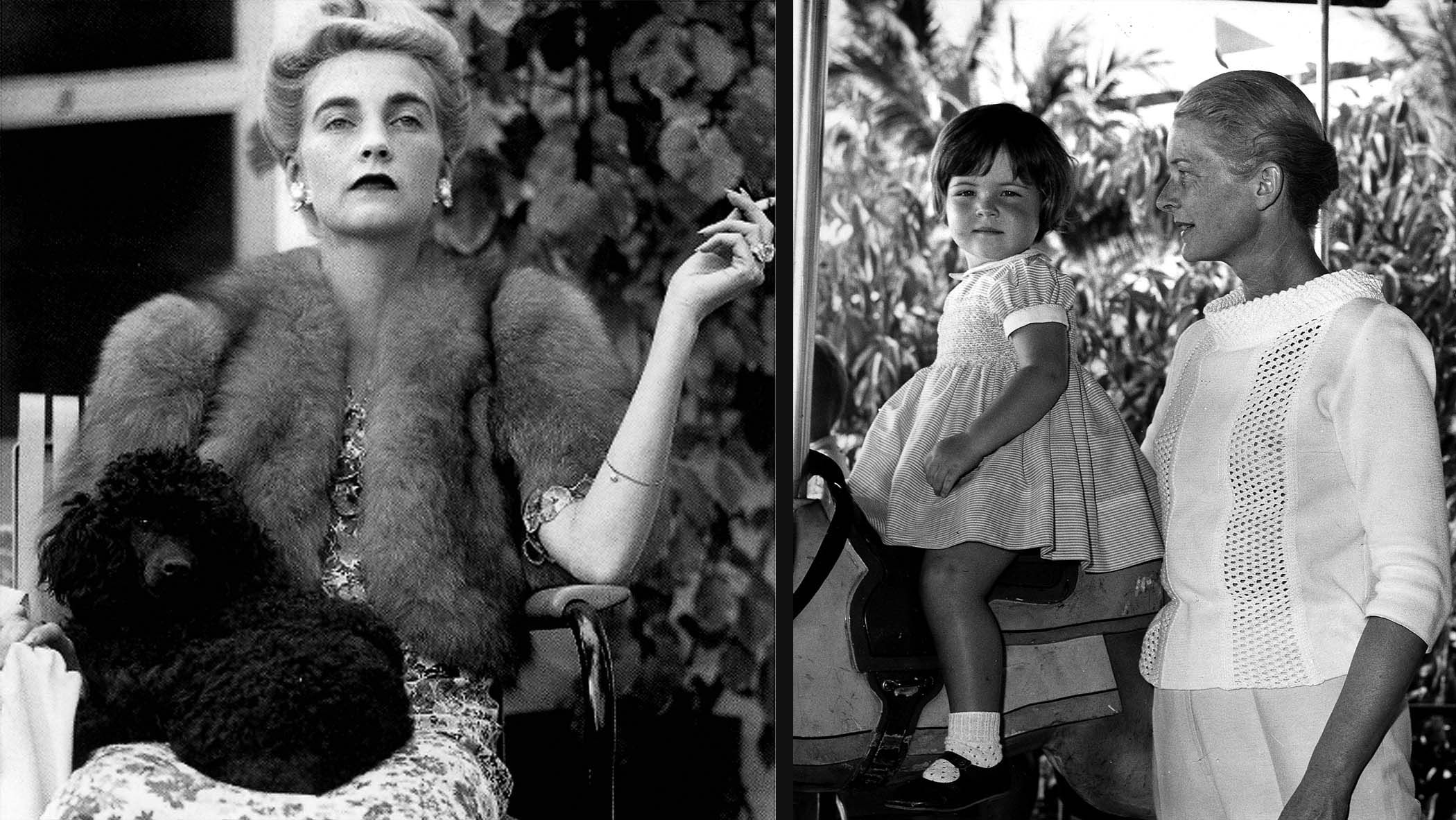 In these undated photos taken at the Everglades Club, Countess Court Haugwitz-Revetlow, the former Barbara Hutton, watches a tennis match wearing pearl earrings and a drop-pearl bracelet, and Cornelia Guest and her mother, Mrs. F.C. Guest, attend a circus. (Palm Beach Daily News file photos)  Inside the Everglades Club: the origins of Palm Beach style | CLIK/HEAR | Multimedia, photography, video showcase of The Palm Beach Post