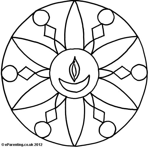 Kindergarten Diwali Colouring Pages For Kids Rangoli