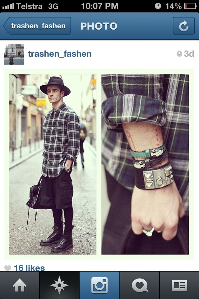 Found this pic on Instagram. Dr Martins, flannel shirt, Balenciaga bag, hat, cuffs and bangles. Love this outfit.