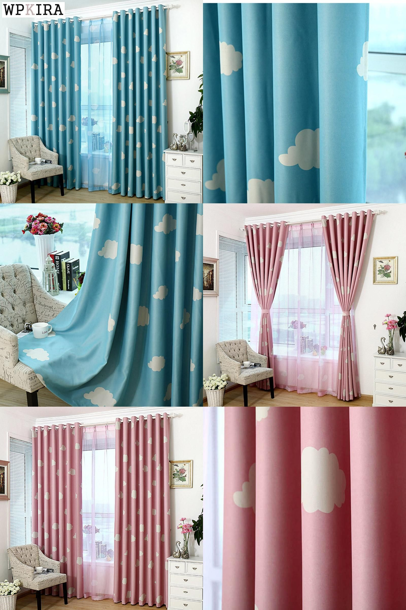 Visit to Buy] Blue/Pink Curtains Grommet Curtains Window Kitchen ...