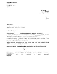 modele de lettre pour la cpam Lettre de demande de pension d'invalidité à la CPAM   modèle de  modele de lettre pour la cpam