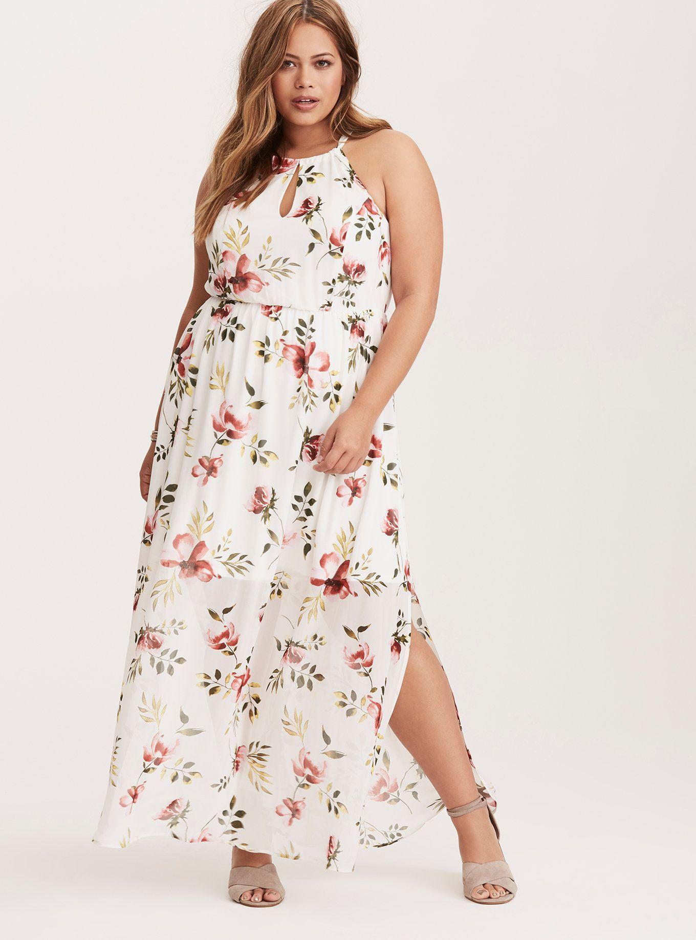 White Floral Keyhole Cutaway Maxi Dress Short Inseam Now Available Plus Size Maxi Dresses Lace Maxi Dress Maxi Dress [ 1836 x 1360 Pixel ]