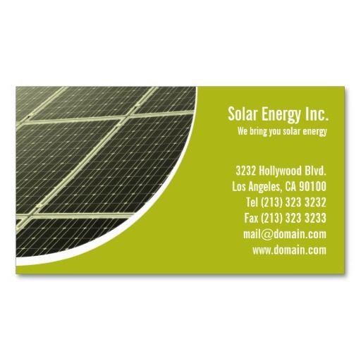 Solar Panel Green Energy Business Card Zazzle Com Solar Energy Solar Energy Diy Passive Solar Energy