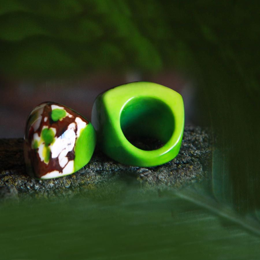 Terra Natural Jewelry, Lime Green Tagua Carved Ring (Pre-Order Item. June Delivery)