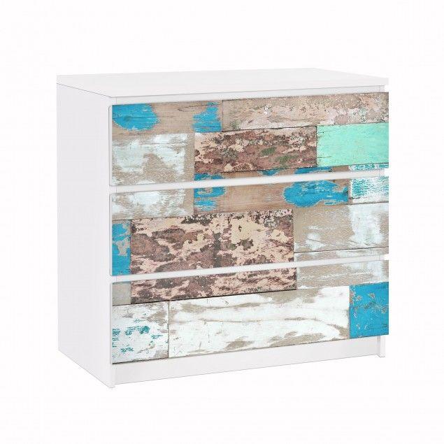 Ikea Klebefolie möbelfolie für ikea malm kommode klebefolie maritime planks