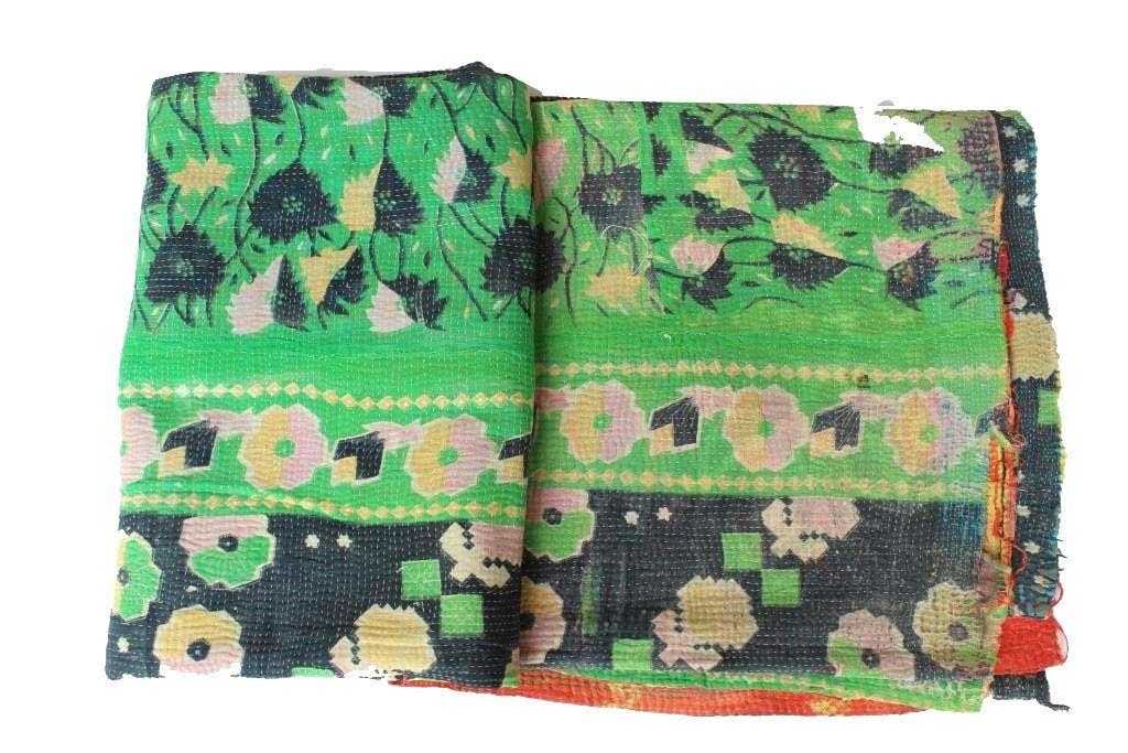 Vintage Kantha heavy Quilt Handmade Cotton Bedding Bedspread Coverlet Blanket