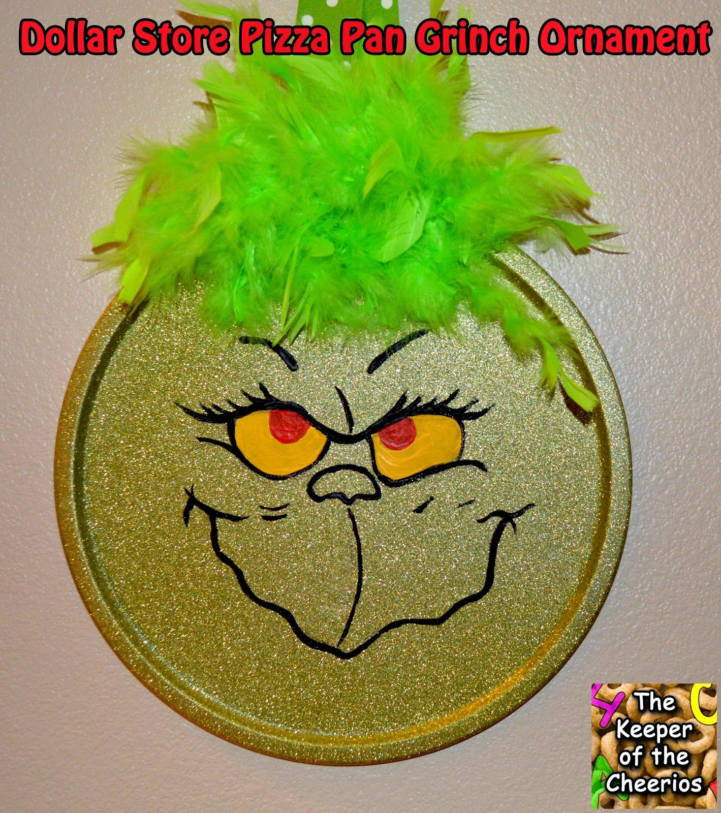 Dollar Store Pizza Pan Grinch Ornament | Christmas | Pinterest ...