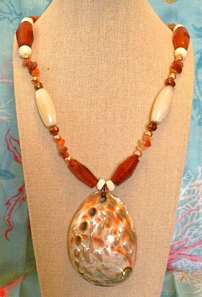 Red abalone shell statement necklace, red aventurine, carnelian, agate, pearls, copper, bone, boho, beach jewelry by EbbTideArts on Etsy