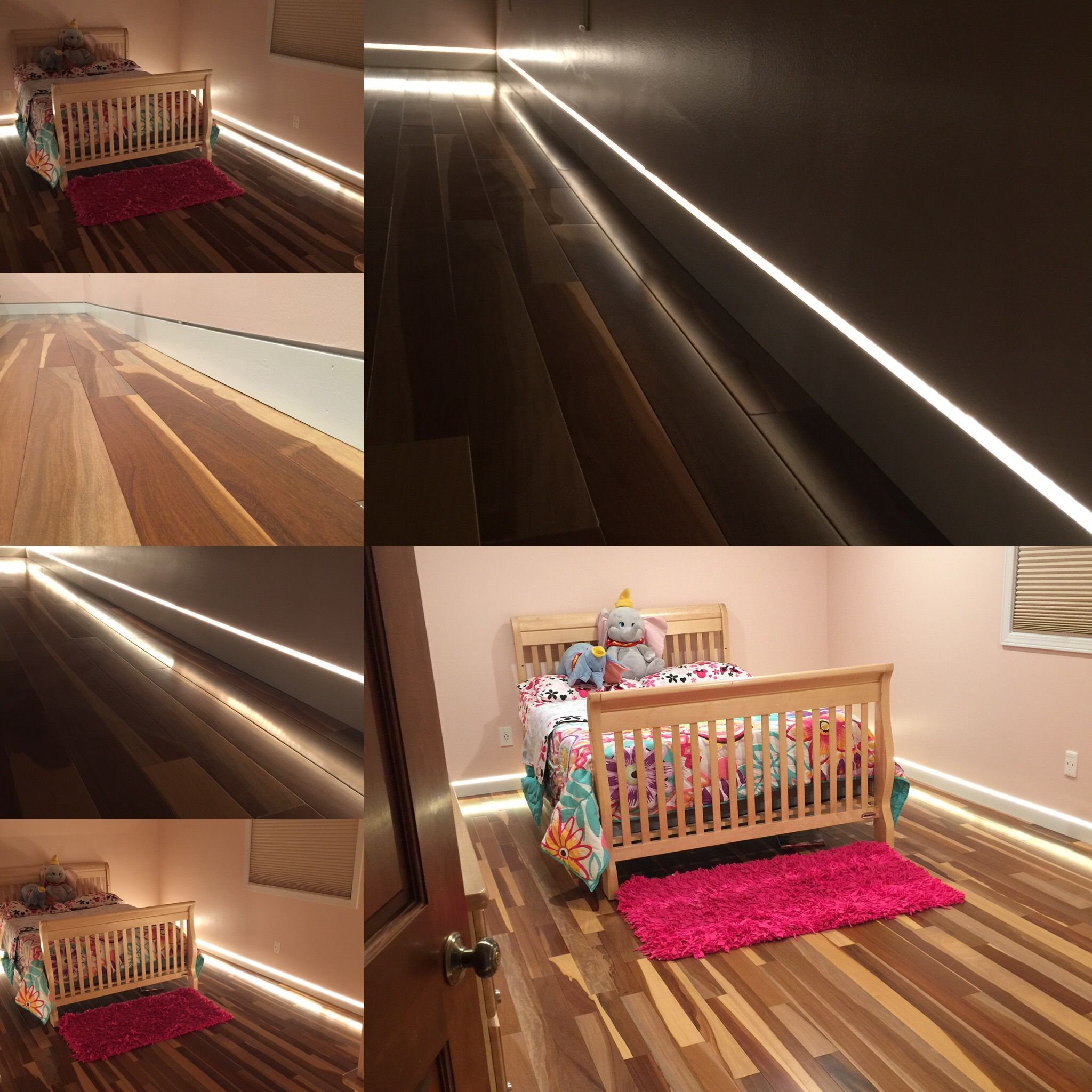 Flush Modern Baseboard With Reveal And Led Tape Light Set On A Dimmer It Also Is Used As A Night Light Led Tape Lighting Tape Lights Modern Baseboards